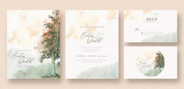 Acquerello di paesaggio bellissimo albero sulla carta di nozze