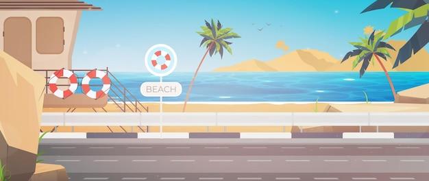Bella spiaggia tropicale paesaggio estivo al mare con palme e silhouette
