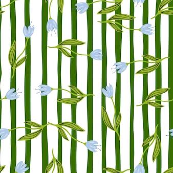 Reticolo senza giunte del bellissimo fiore di tulipano su sfondo a righe. disegno botanico di fiori selvatici. carta da parati decorativa con ornamenti floreali. per il design del tessuto, la stampa tessile, il confezionamento. illustrazione vettoriale retrò