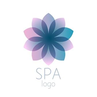 Segno di modello di logo fiore astratto turchese bella. buono per spa, centro yoga, salone di bellezza, benessere e medicina. Vettore Premium