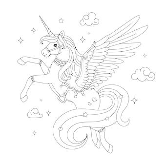 Bellissimo disegno da colorare di unicorno pegaso