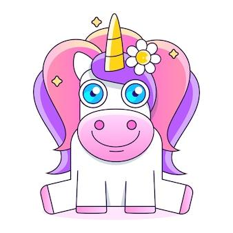 Bellissimo unicorno con illustrazione di stelle, carino piccolo unicorno magico rosa. disegno vettoriale su sfondo bianco. stampa per t-shirt. illustrazione di disegno a mano romantico per bambini.