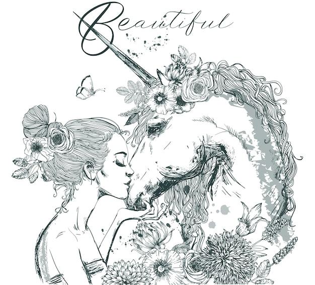 Bellissimo unicorno con giovane donna e ghirlanda floreale