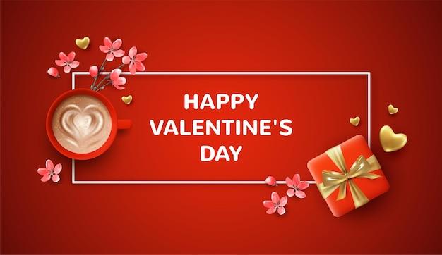 Bellissimo banner di san valentino. illustrazione di festa con un regalo realistico di san valentino e una tazza di caffè