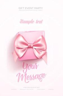 Bellissimo volantino o poster di auguri di san valentino vista dall'alto su confezione regalo rosa e fiocco rosa