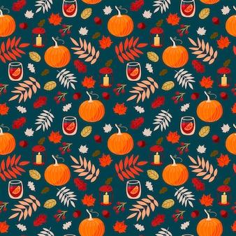 Bellissimo autunno vettoriale senza soluzione di continuità con zucche, vin brulé, foglie di quercia, acero, ghiande e bacche su sfondo turchese. motivo per il ringraziamento, halloween, confezioni regalo o tessili.