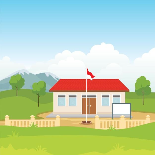 Bella vista dell'edificio scolastico indonesiano nell'illustrazione della campagna