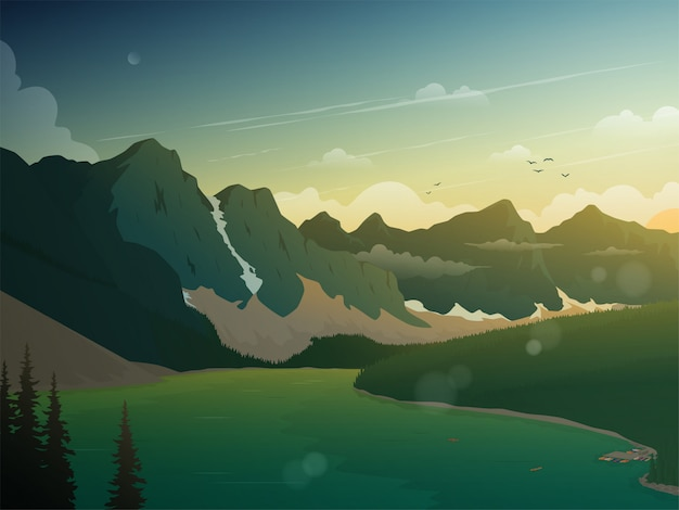 La splendida vista del tramonto in montagna e lago