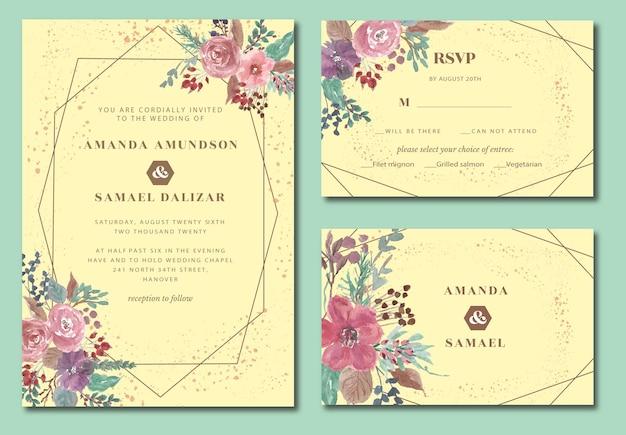 Bellissimo invito a nozze floreale vintage e foglie