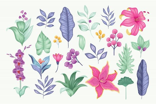 Bella raccolta floreale disegnata a mano d'annata di vettore