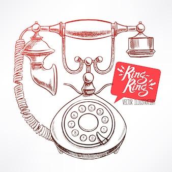 Bellissimo telefono vintage. illustrazione disegnata a mano