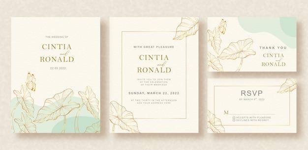Bella carta di matrimonio vintage con contorni di foglie tropicali oro