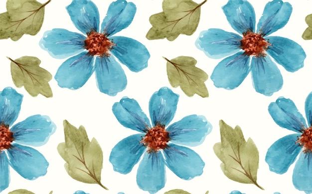 Bellissimi fiori blu dell'universo dell'acquerello come modello senza cuciture