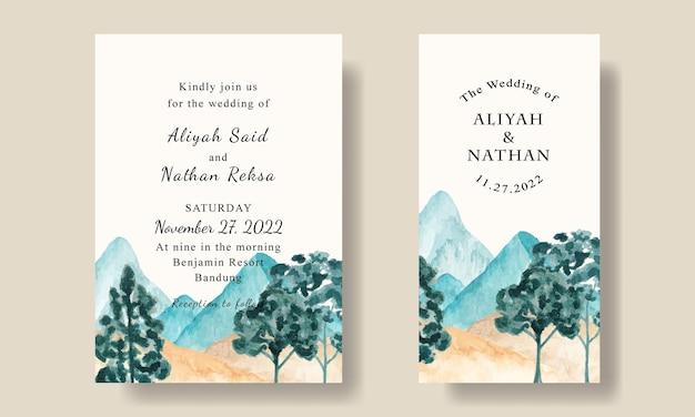 Bellissimo modello di biglietto d'invito per matrimonio con paesaggio di montagna blu dell'acquerello modificabile