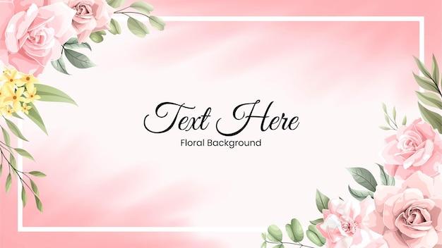 Bella cornice bordo acquerello con fiore rosa