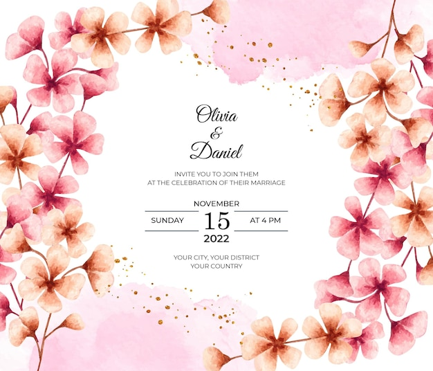 Carta di invito matrimonio bellissimo fiore di ciliegio dell'acquerello