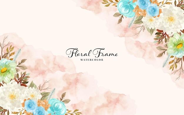 Bella cornice floreale ad acquerello con fiori autunnali