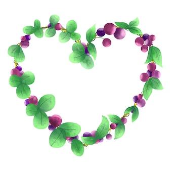 Struttura floreale del bello acquerello con le foglie del cuore isolate su fondo bianco