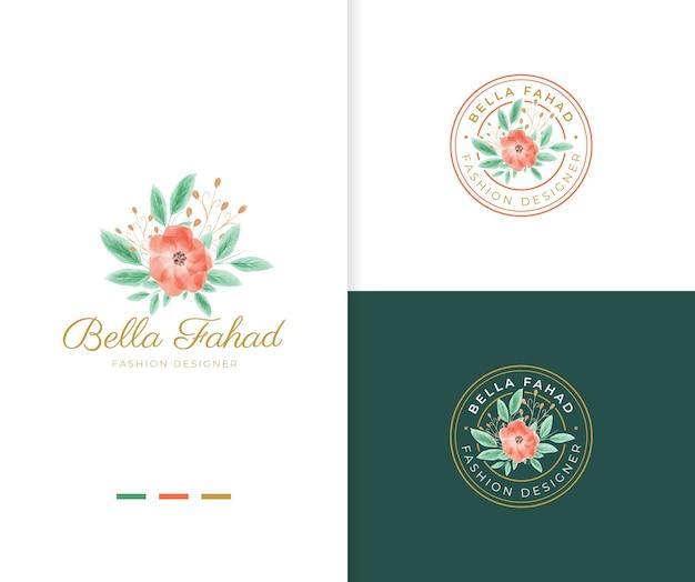 Bellissimo modello di logo floreale ad acquerello con badge cerchio