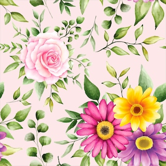 Bellissimo motivo floreale ad acquerello senza soluzione di continuità
