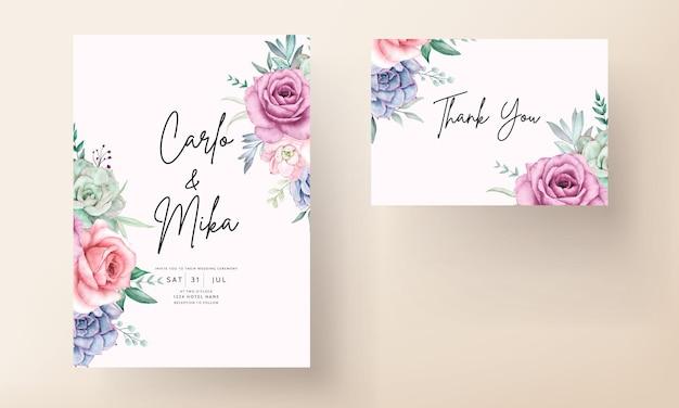 Bellissimo biglietto d'invito per matrimonio floreale ad acquerello con rose e piante grasse