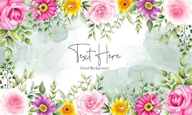 Bellissimo sfondo di fiori ad acquerello con ornamento di inchiostro alcolico
