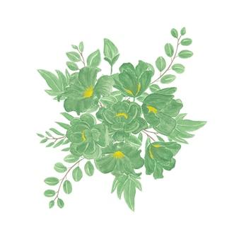 Bellissimo bouquet di fiori ad acquerello con fiori verdi e gialli