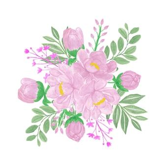 Bellissimo bouquet di fiori ad acquerello con fiori rosa