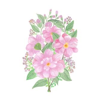 Bellissimo bouquet di fiori ad acquerello con fiori rossi o rosa Vettore Premium