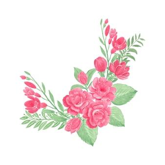Bellissimo bouquet di fiori ad acquerello con fiori di rosa rossa