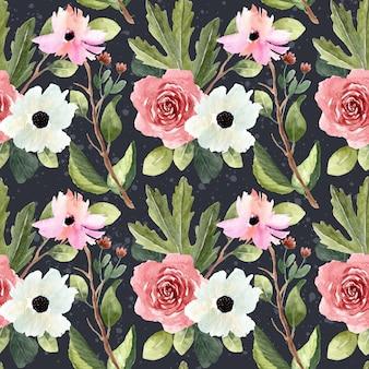 Modello senza cuciture del bello giardino floreale dell'acquerello