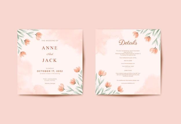 Bello modello quadrato della carta di nozze delle foglie e del fiore dell'acquerello
