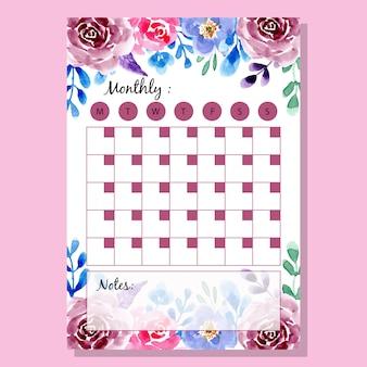 Bel pianificatore mensile di fiori ad acquerelli