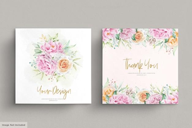 Set di carte di nozze bellissimi fiori ad acquerelli