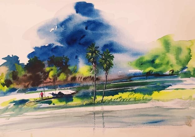 Pittura disegnata a mano della natura di inverno del bellissimo paesaggio dell'acquerello
