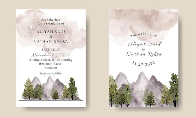 Modello di biglietto d'invito per matrimonio con bellissimo paesaggio di alberi verdi di montagna dell'acquerello