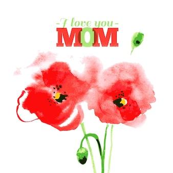 Bella pittura ad acquerello rosso papavero. illustrazione vettoriale. carte di felice festa della mamma. design tipografico