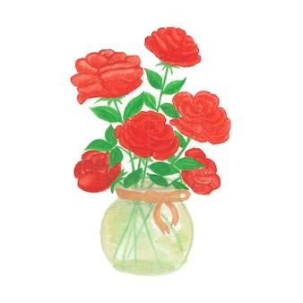 Bellissimi fiori rossi ad acquerello rosa