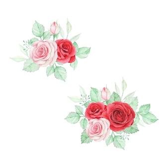 Bella composizione floreale rosa dell'acquerello