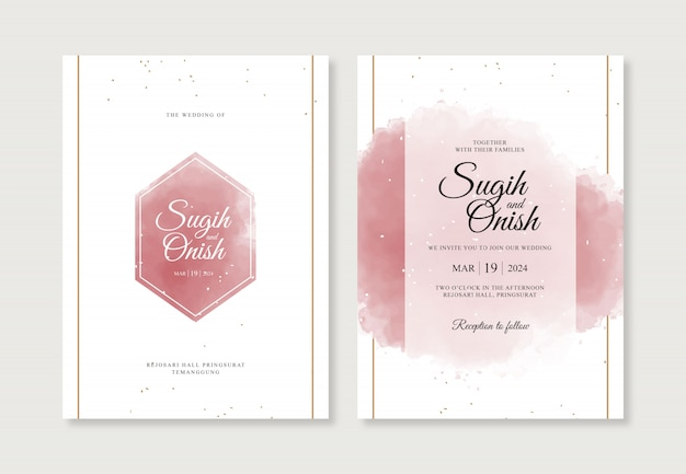 Bellissimi schizzi ad acquerello per modelli di carte di invito a nozze