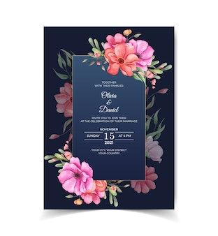 Bello modello della carta dell'invito di nozze dell'acquerello con la disposizione floreale