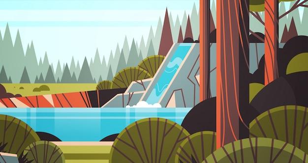 Bella cascata sulla scogliera rocciosa verde estate foresta natura paesaggio