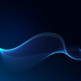 Bella matrice a forma di onda di punti luminosi. elemento di design astratto.
