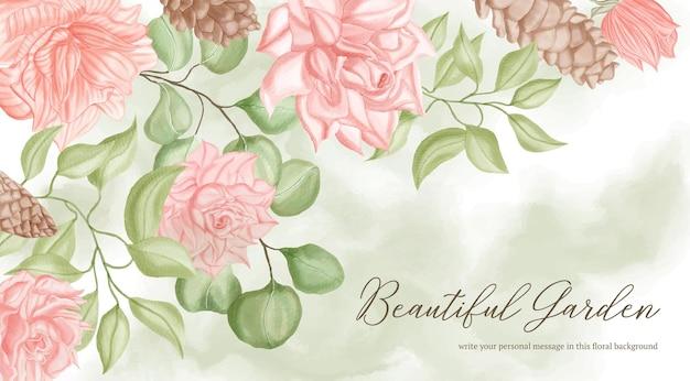 Bellissimo striscione nuziale con fiori e foglie di peonia ad acquerello