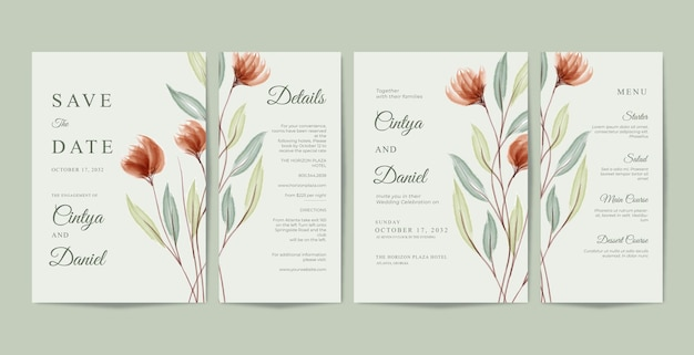 Bellissimo modello di raccolta di partecipazioni di nozze con acquerello floreale