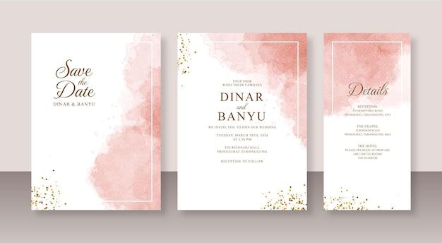 Bellissimo modello di set di inviti per partecipazioni di nozze con schizzi astratti acquerello e glitter