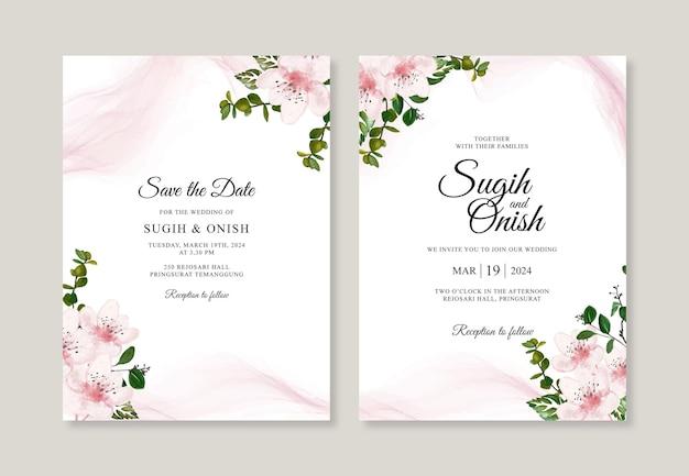 Bello modello dell'invito della carta di nozze con floreale dell'acquerello disegnato a mano Vettore Premium
