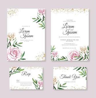 Bello modello dell'invito della carta di nozze con il fiore dell'acquerello dipinto a mano