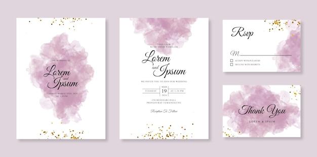 Modello di invito di bella carta di nozze con sfondo acquerello e scintilla