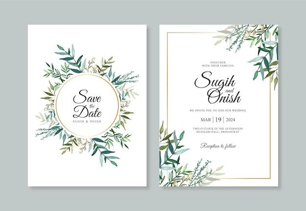 Bellissimo modello di invito di carta di nozze con fogliame dell'acquerello